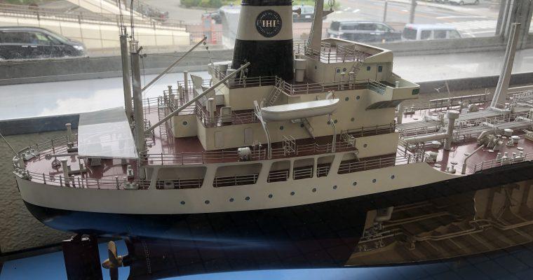 ペーロン船と石油製品運搬船の模型(兵庫県相生市・2018年9月)