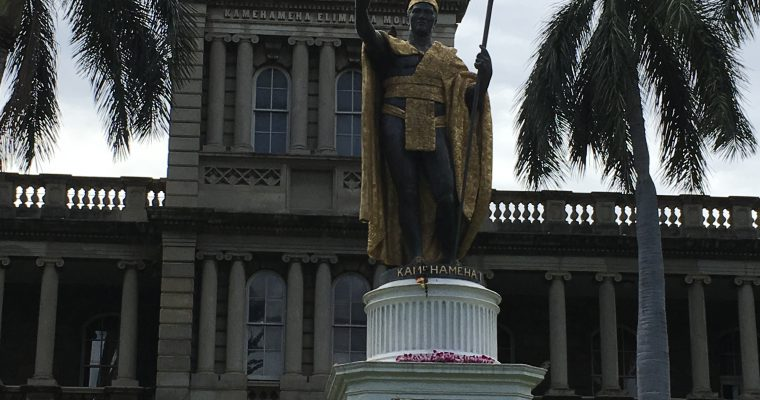 ハワイ州最高裁判所内の昔のワイキキ周辺模型(ハワイ州・ホノルル・2019年2月訪問)