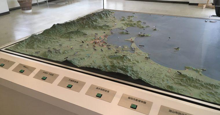 志賀島ビジターセンターの「志賀島と福岡周辺ジオラマ」(福岡県福岡市・2019年3月訪問)